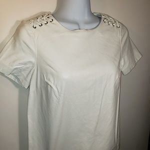 Faux White Leather Top with Lace Detailing